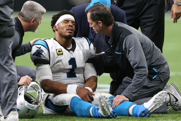 photo of injured cam newton