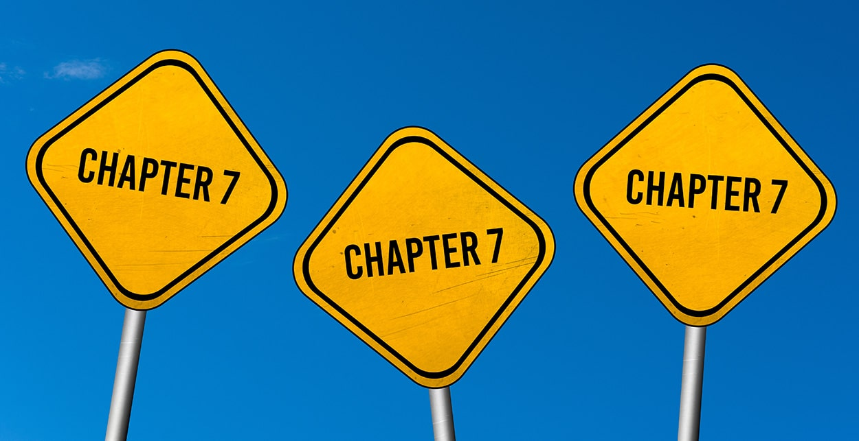 three road signs that say chapter 7